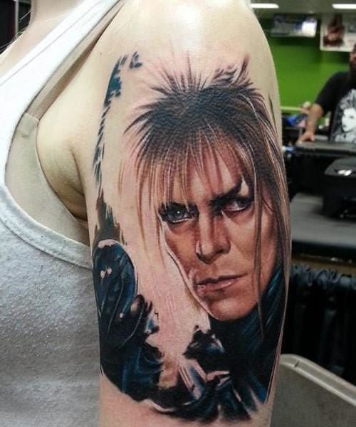 Jareth, the Goblin King portraid by David Bowie in the movie Labyrinth. Tattoo by Sarah Miller @sarahmillertattoo