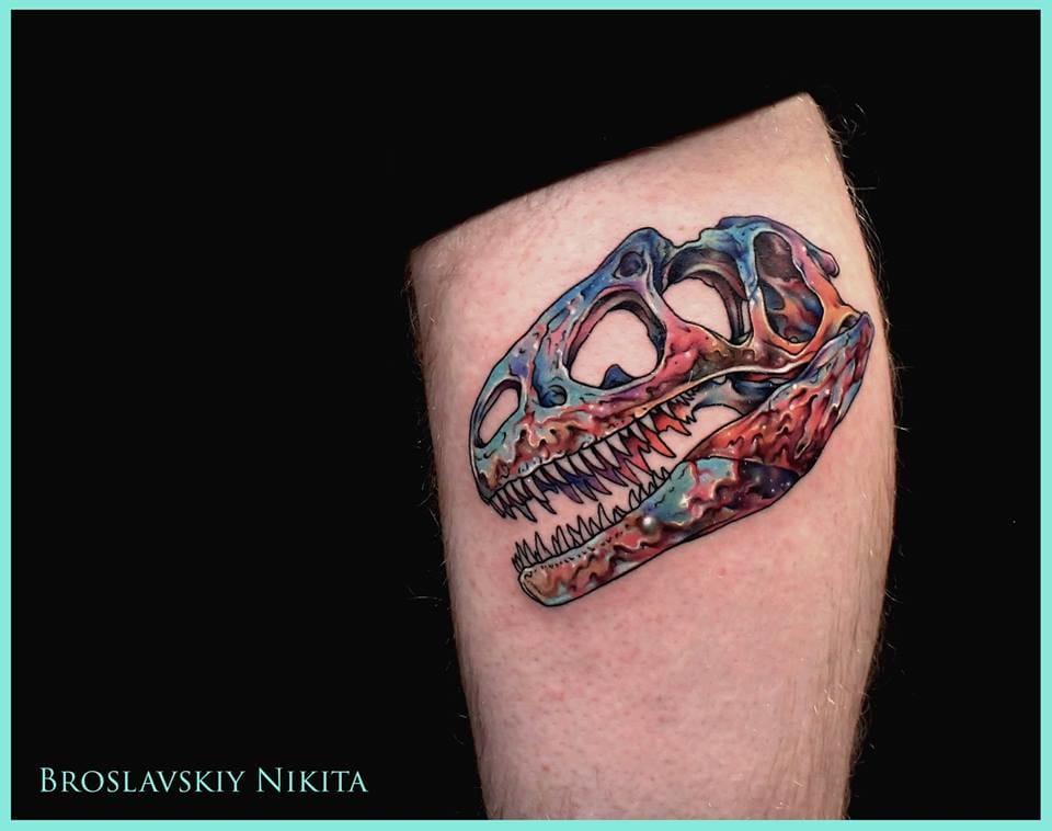 Vivid T-Rex skull.