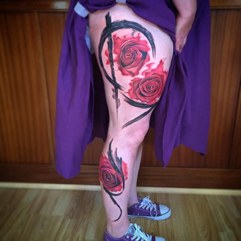 Rose leg sleeve tattoo
