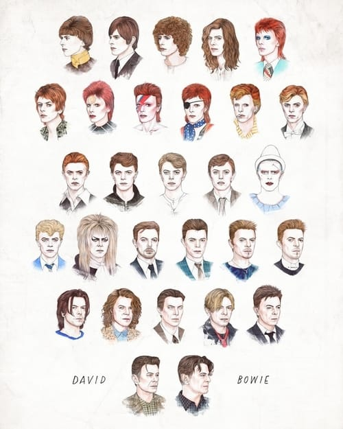 The many faces of David Bowie, drawn by @helengreeen