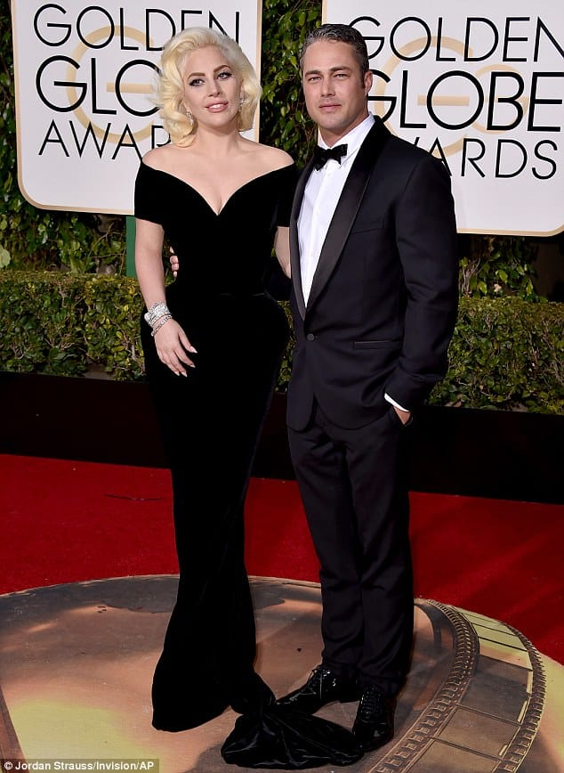 Lady Gaga and fiance Taylor Kinney at the 2015 Golden Globe Awards