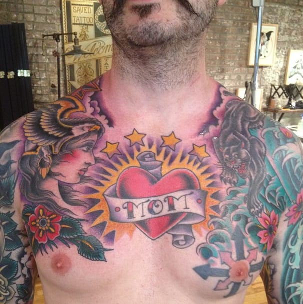 A great example of Oliver Peck tattoos, Mom tattoo #oliverpeck #mom #heart #chest #traditional