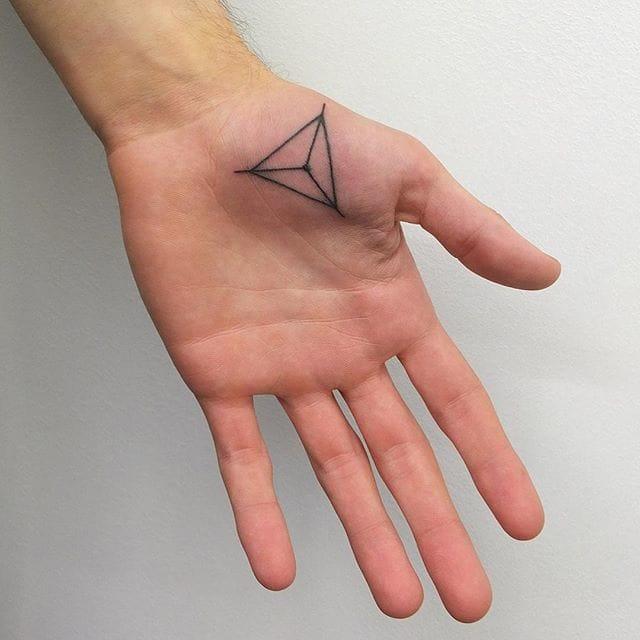 Triangular palm tattoo