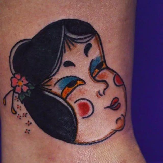 Okame Tattoo by Erica Forte