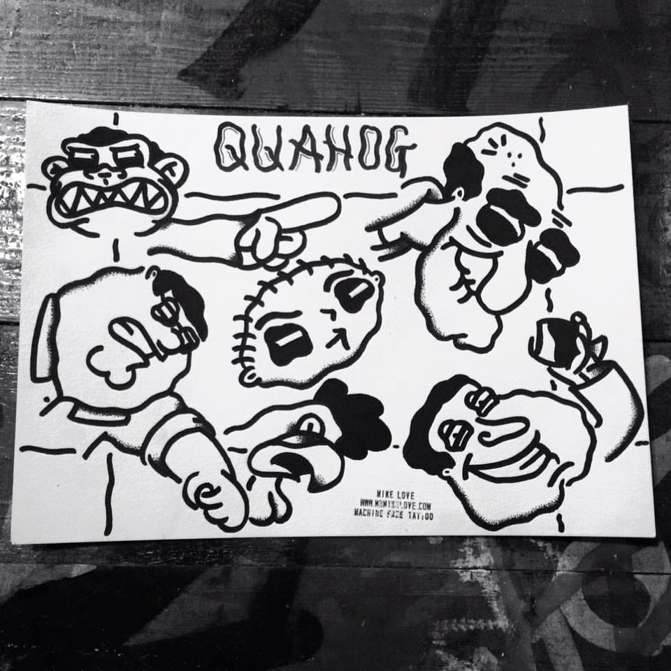 Family Guy hand-poke tattoo designs available, by Mike Love.