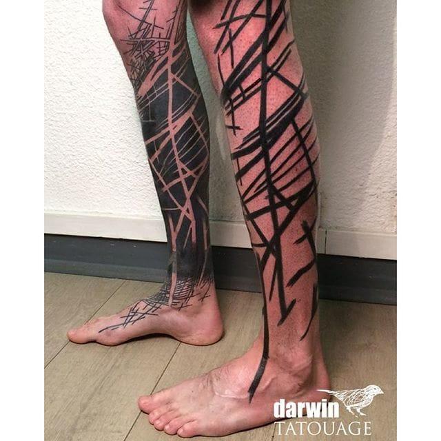 Leg sleeve tattoo by Darwin Toucourt