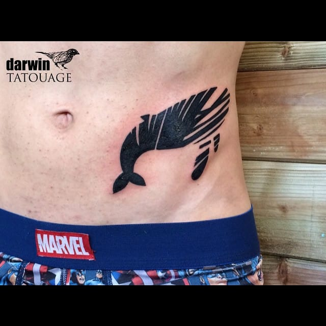 Whale tattoo by Darwin Toucourt