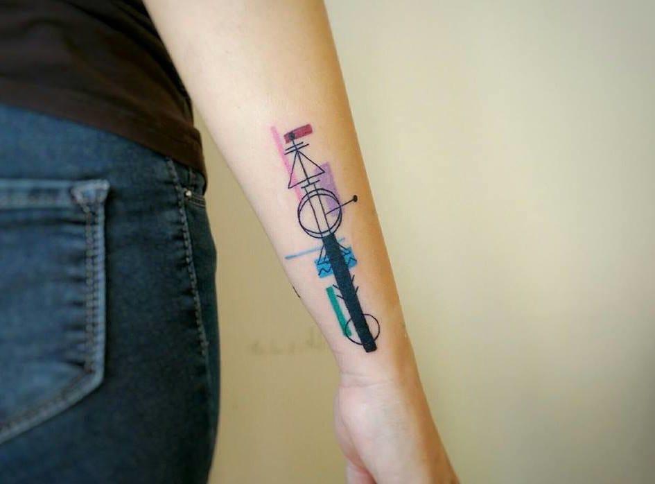 Cool geometric shape tattoo.