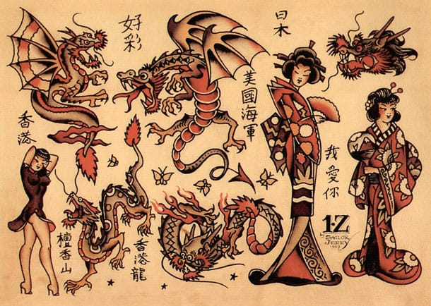 "A classic Americana take on Japanese motifs, such as Geisha & Dragons. ""I have been studying Japanese comic books-some of these guys can really portray motion and action. I think we can learn a lot from them."" - Sailor Jerry"