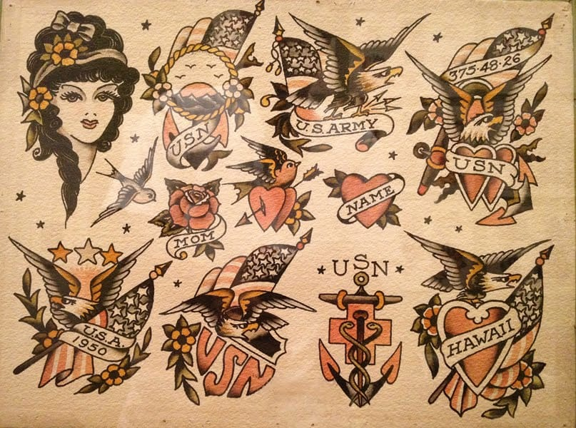 Tattoo flash for servicemen - made by Sailor Jerry