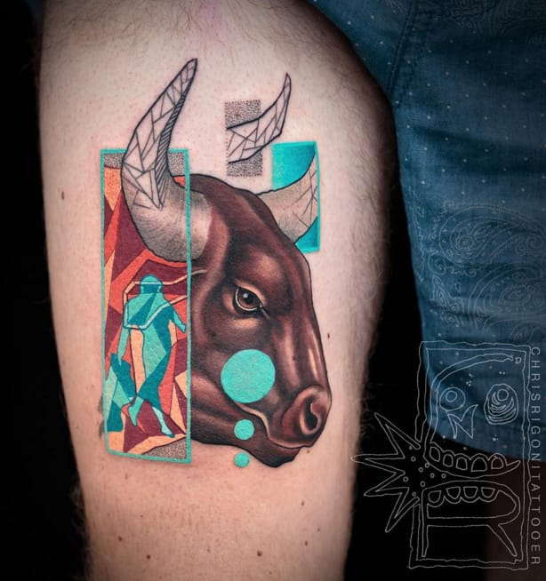 Bull tattoo #ChrisRigoni #abstract #bull #shapes #color
