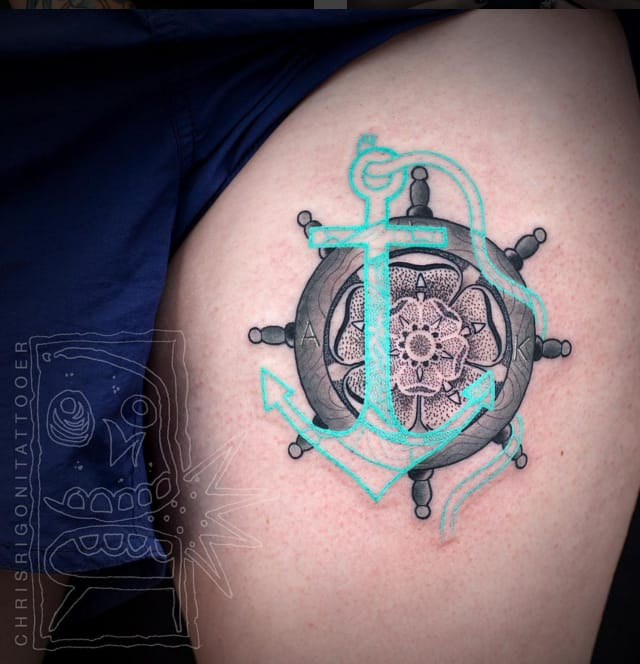 Anchor and tudor rose tattoo by Chris Rigoni #ChrisRigoni #abstract #tudorrose #rose #blackwork #anchor