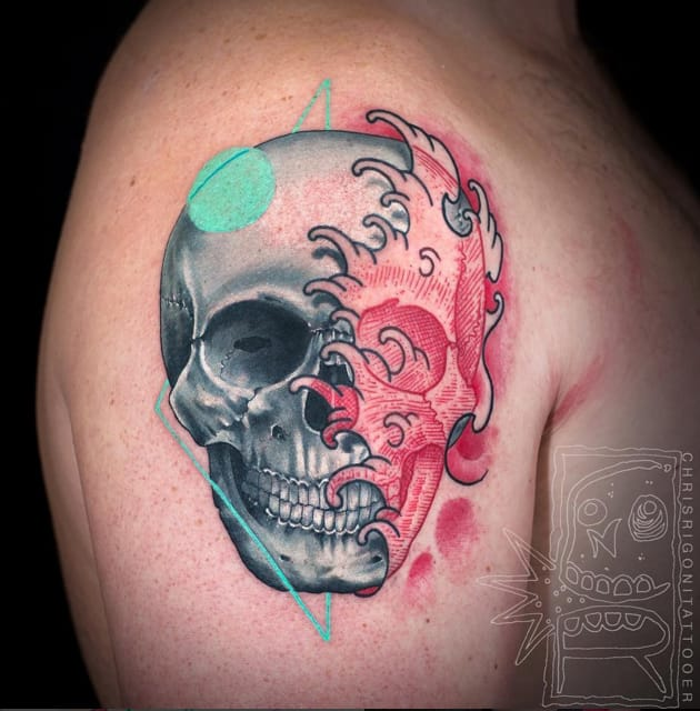 Waves and skull tattoo - so many different styles executed in this fantastic tattoo #ChrisRigoni #skull #waves #watercolor