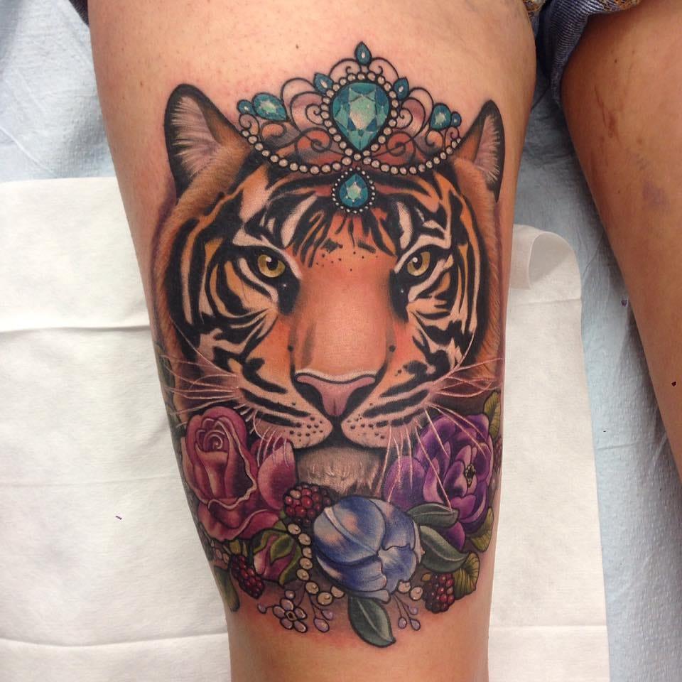 Beautiful tiger tattoo.
