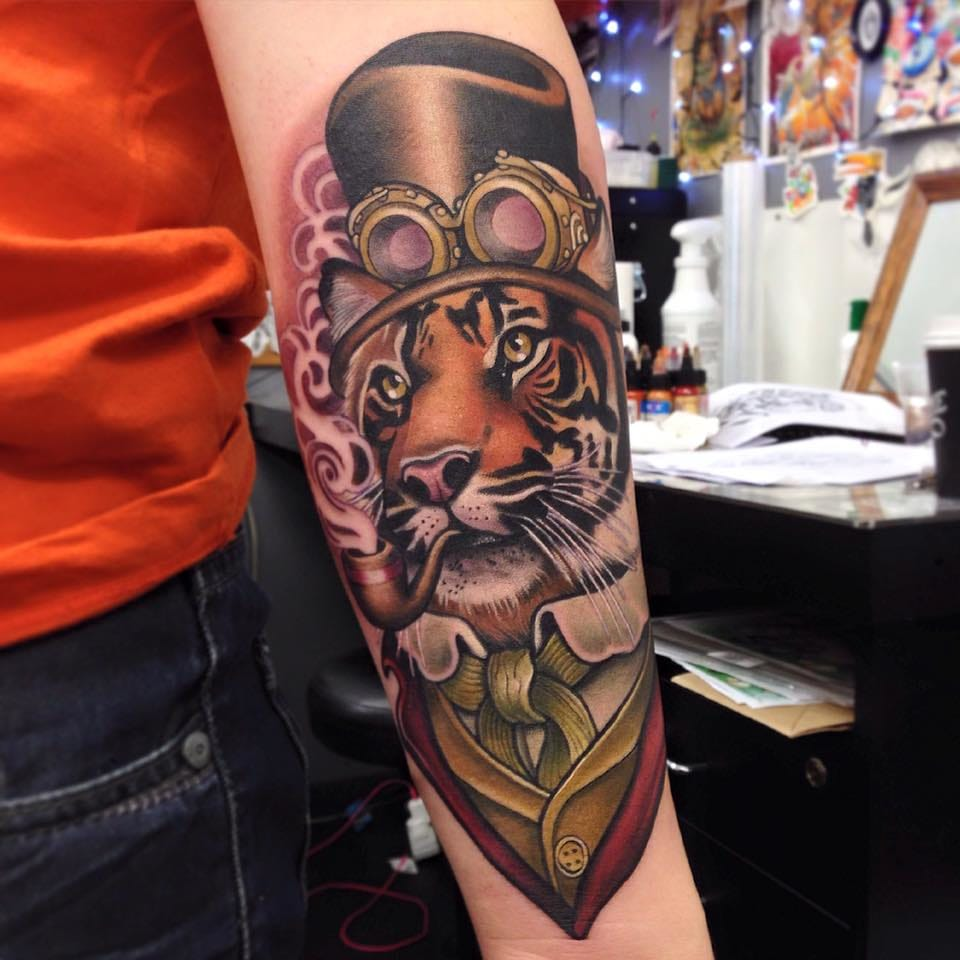 Tiger tattoo by Makkala Rose.