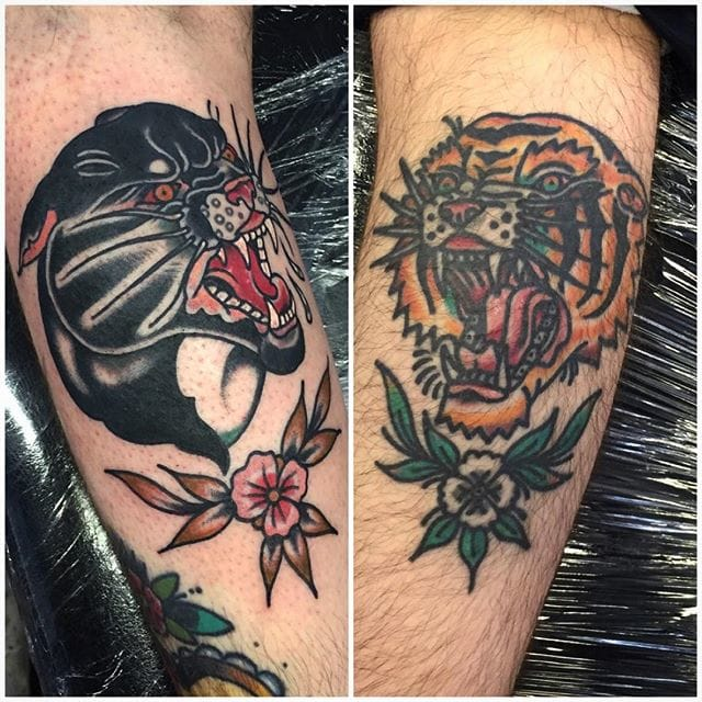 Panther Tiger Tattoo by Alex Bage