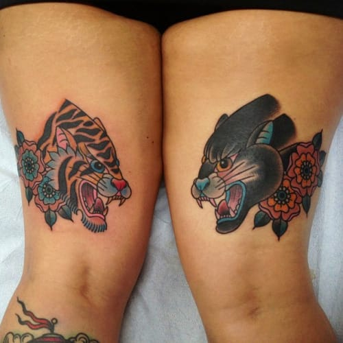 Panther Tiger Tattoo by Ashley Love