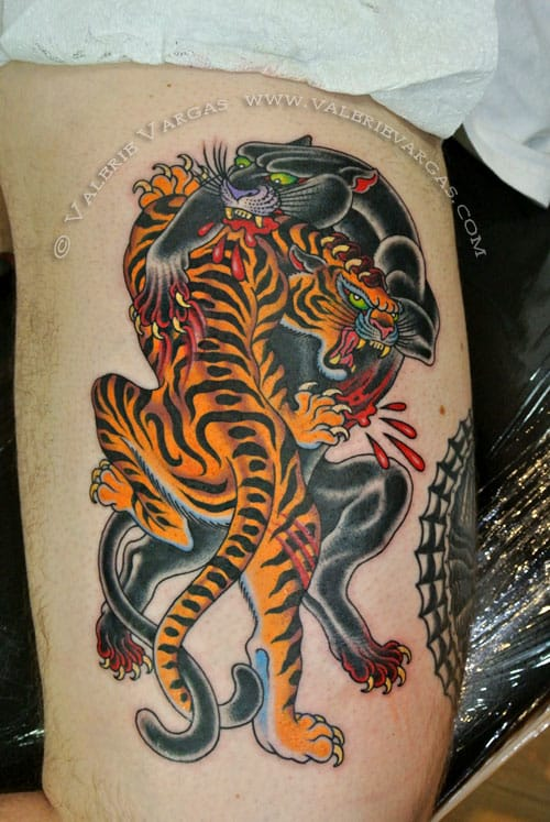 Panther Tiger Tattoo by Valerie Vargas