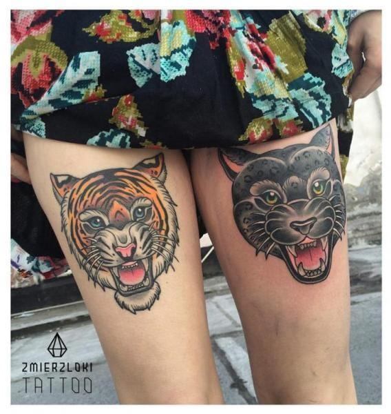 Panther Tiger Tattoo by Zmierzloki Tattoo