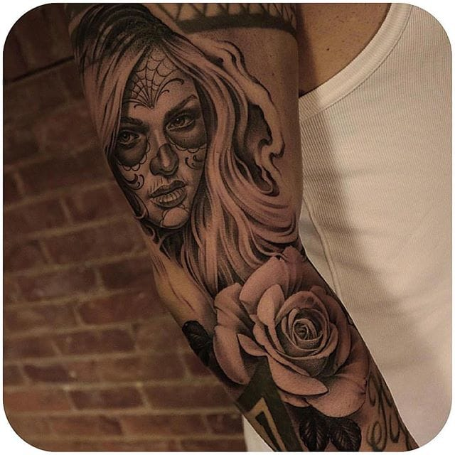 Catrina and Day of the Dead tattoos are a favorite among our followers. Instagram @ericmarcinizyn