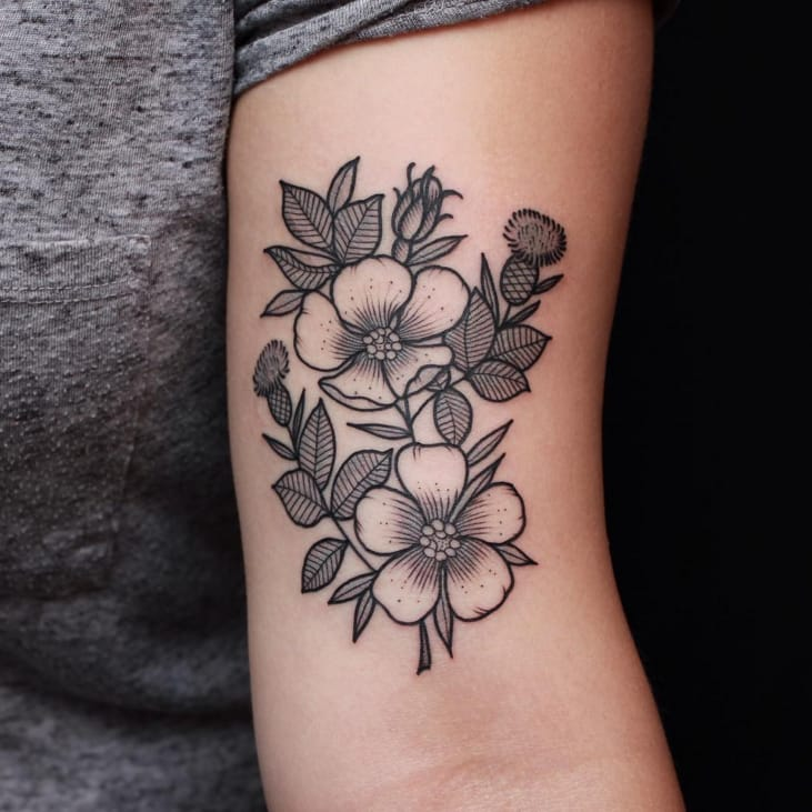 the dainty flower and plant tattoos of sasha mezoghlian tattoodo. Black Bedroom Furniture Sets. Home Design Ideas