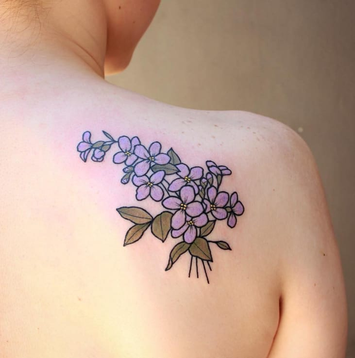 The dainty flower and plant tattoos of sasha mezoghlian for Dainty flower tattoos