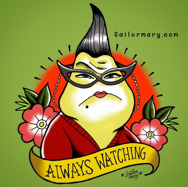 Roz from Monsters Inc. She's aaaaalways watching...
