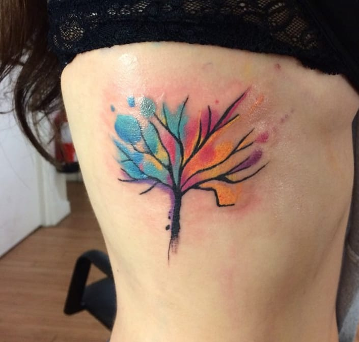 Colorful tree tattoo by Darren Bishop, Glasgow, UK
