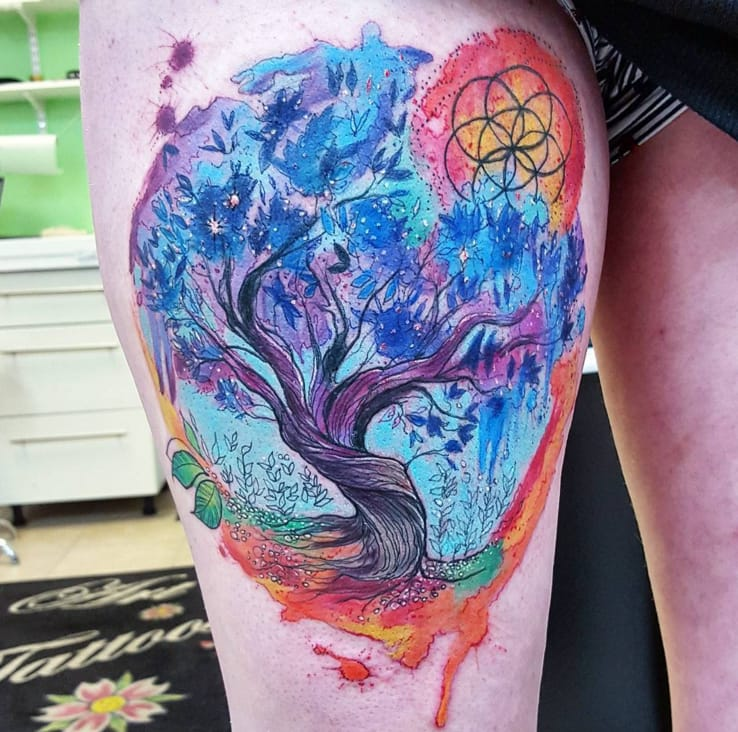 Colorful tree tattoo by Joanne Baker, Coventry, UK
