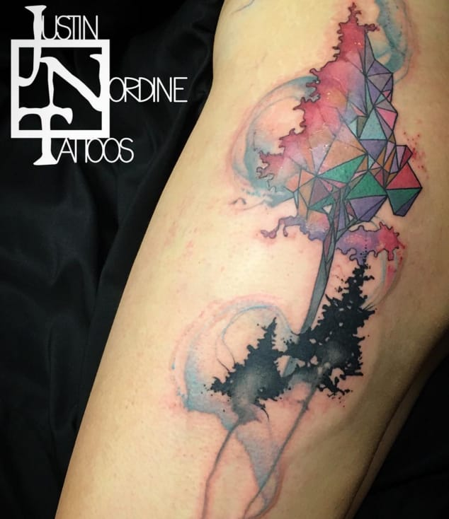 Geometric watercolor tattoo by Justin Nordine