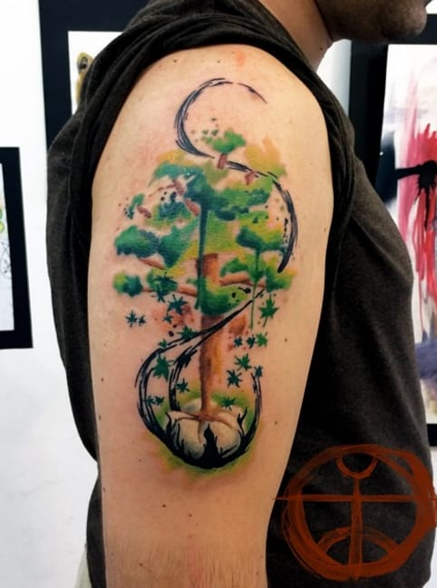 Tree tattoo with lots of detail, by Koray Karagözler