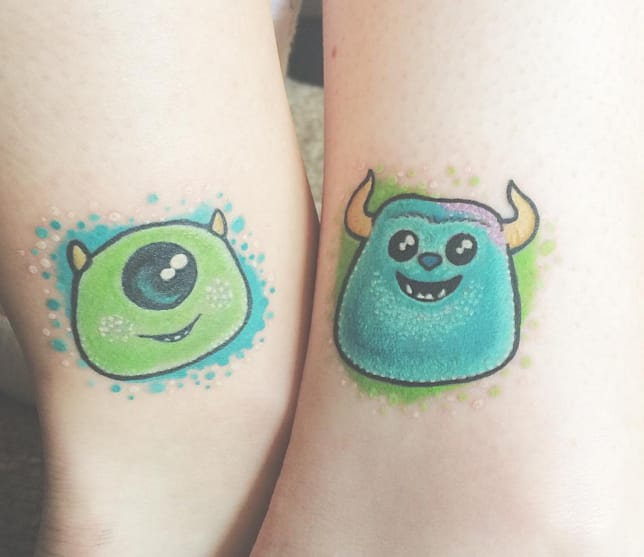 Mike and Sully tattoos, artist unknown, from Instagram @earthtoree.