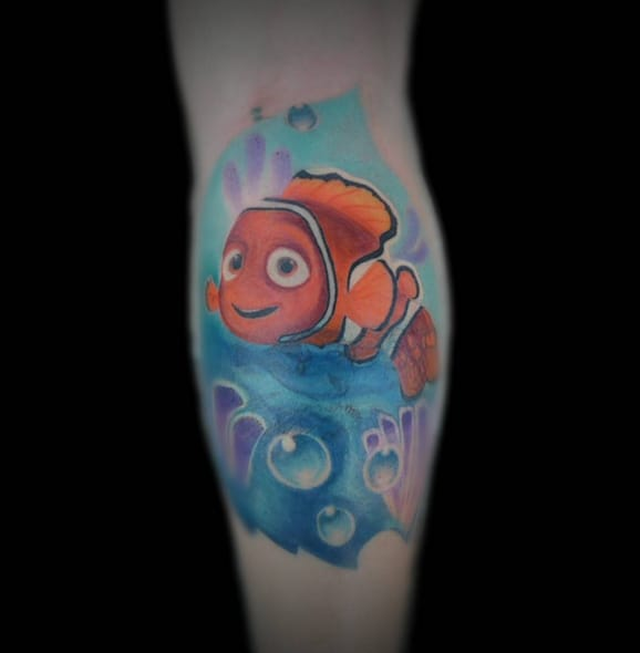 """""""You know, for a clown fish, he really isn't that funny..."""" Tattoo by Instagram @madridtattoos."""