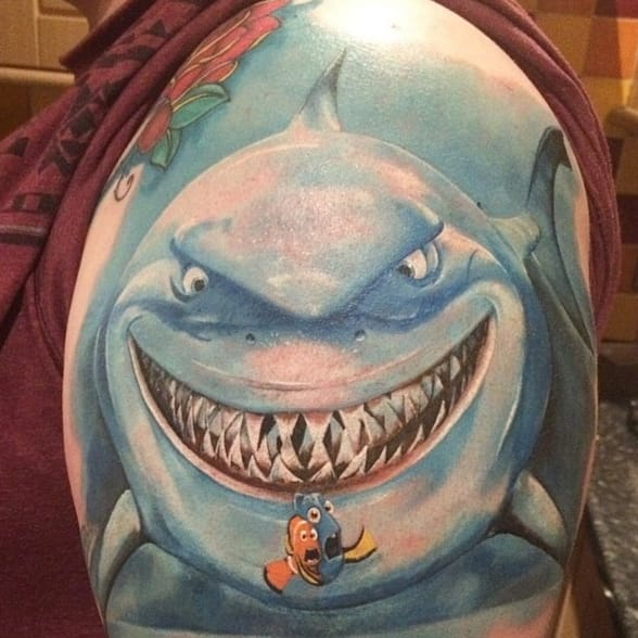 """""""Fish are friends, NOT FOOD!"""" Bruce the friendly shark, by Ruslan at @blackpearltattoo_longford."""