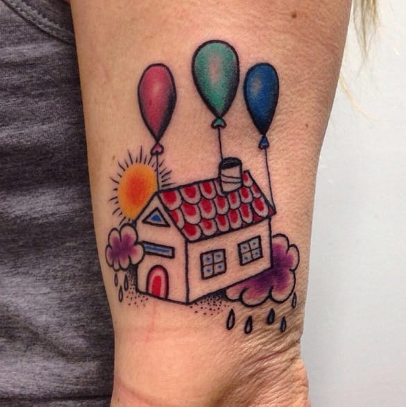 Perfect little house tattoo by Marco Biondi.