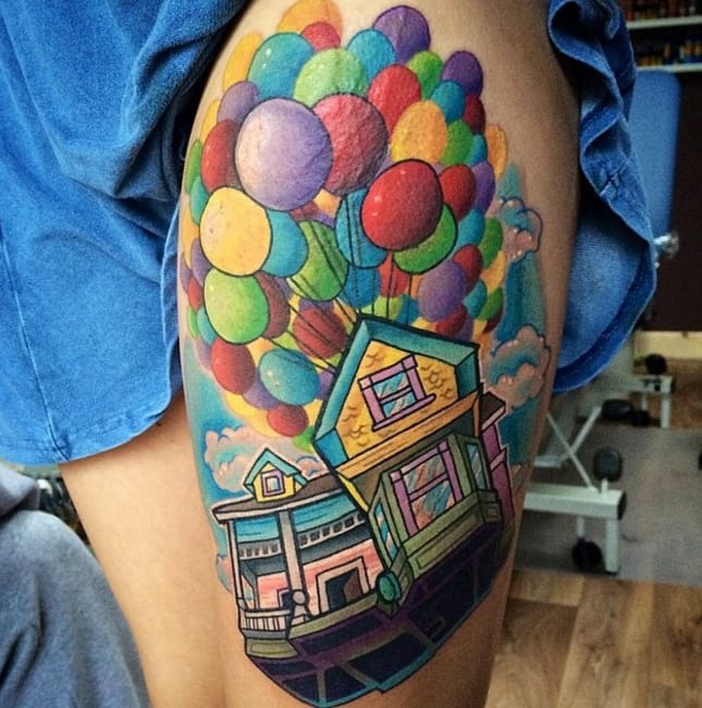 Bold and bright, this house looks like it really is flying due to amazing perspective and detail, by Leah Moule, Birmingham, UK.