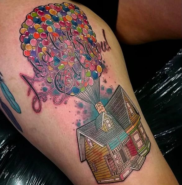 Amazingly detailed Up balloon tattoo by Megan Rose Tattoos.