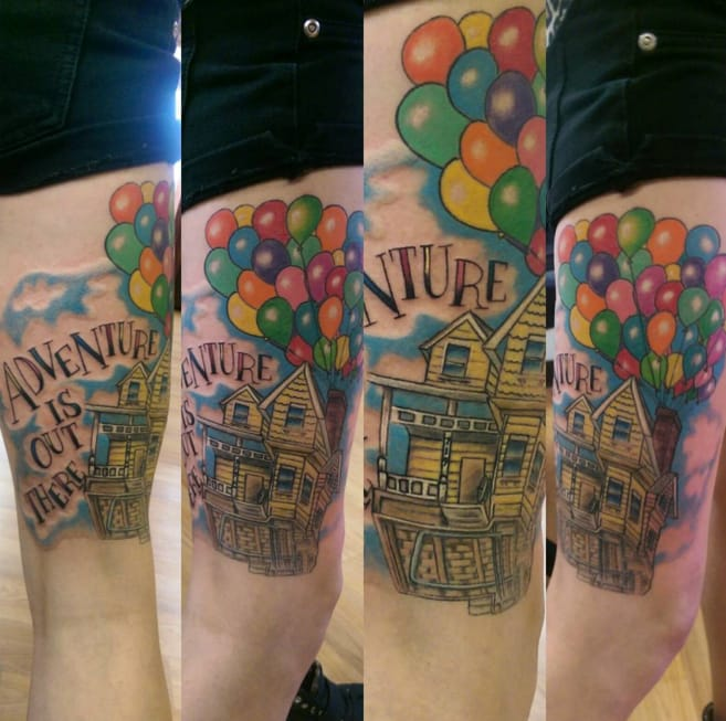 Adventure is out there! Up tattoo by Cassidy Blessing.