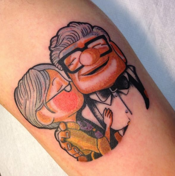 Carl and Ellie, tattoo by Royal Mike.