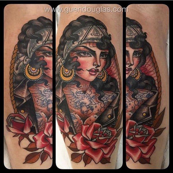 Bold and Beautiful Tattooed Lady Tattoos by Guen Douglas