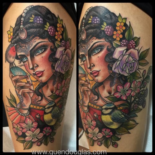 Women can rock a tattoo anywhere on their bodies... even on their faces! And these tattooed lady tattoos by Guen Douglas portray just that!