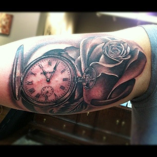 Pocket watch and Rose by Tommy Montoya