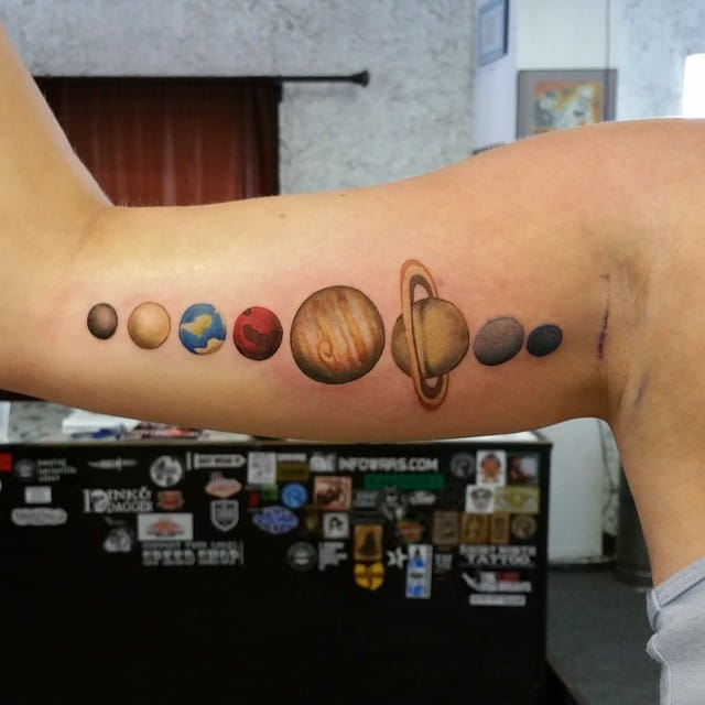 Tattoo by Dave O'Neill #solar #solarsystem #space #planets
