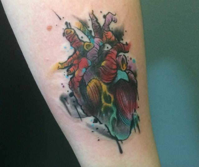 Dark colours splashed outside of the lines really gives this anatomical heart depth by Anthony Robicheau.