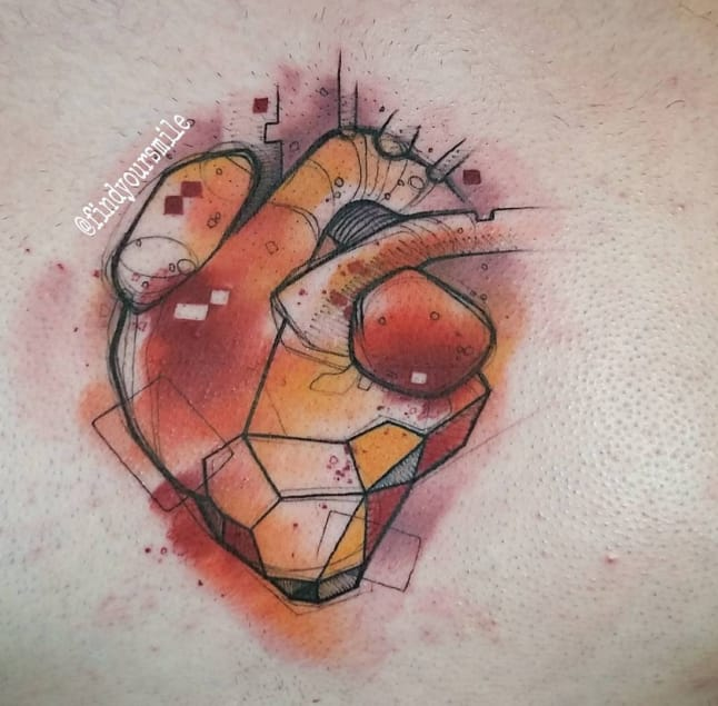 Amazing fiery colours in this abstract, geometrical, watercolour heart by Russell Van Schaick, Orlando, Florida, USA.