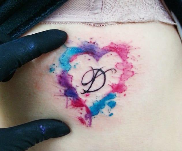Watercolour heart tattoo by Joanne Baker, Coventry, UK.