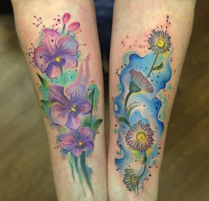 A perfect set of watercolor tattoos by Jason Adelinia, Worthing, UK.