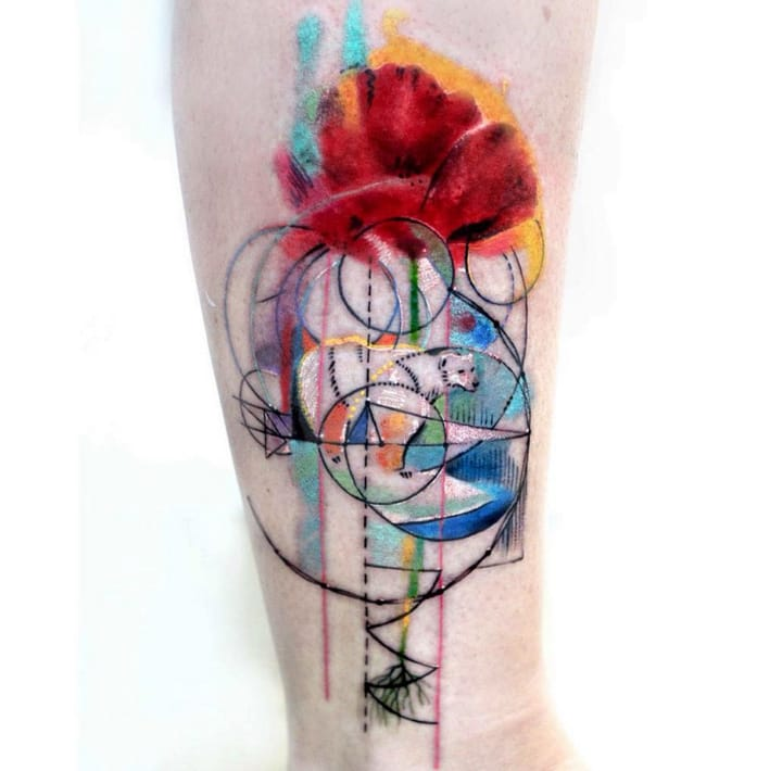 Abstract polar bear and poppy by Batt Tattoo, Scratchline Tattoo, London, UK.