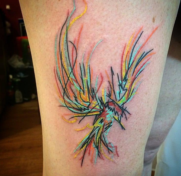 Bird tattoo make completely of lines, by Darren Bishop, Glasgow.