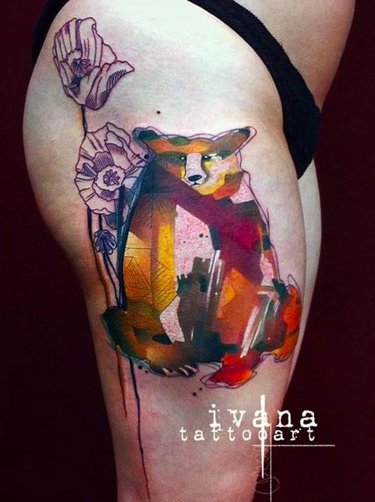 We Love Watercolor Animal Tattoos | Tattoodo Watercolor Bear Tattoo